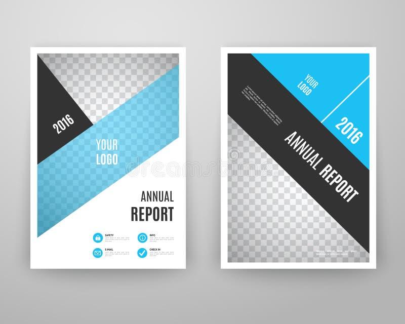 Abstrakcjonistyczny błękitny broszurka szablon z ikonami royalty ilustracja
