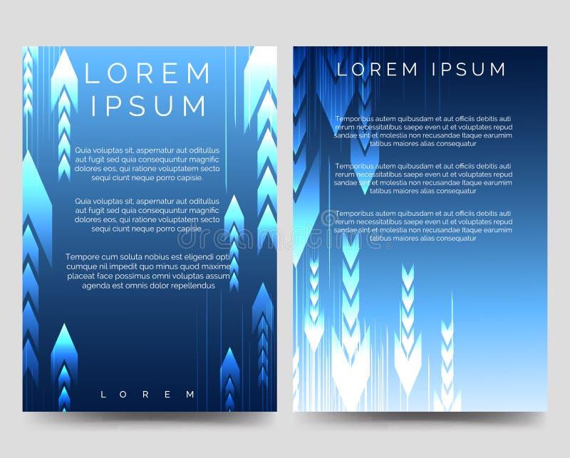 Abstrakcjonistyczny błękitny broszurka szablon z strzała ilustracja wektor