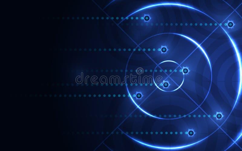 Abstrakcjonistyczny błękitny cel, mknący pasmo na czarnym tle ilustracji