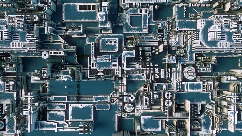 Abstrakcjonistyczny błękitny futurystyczny techno wzór Cyfrowego 3d ilustracja ilustracji