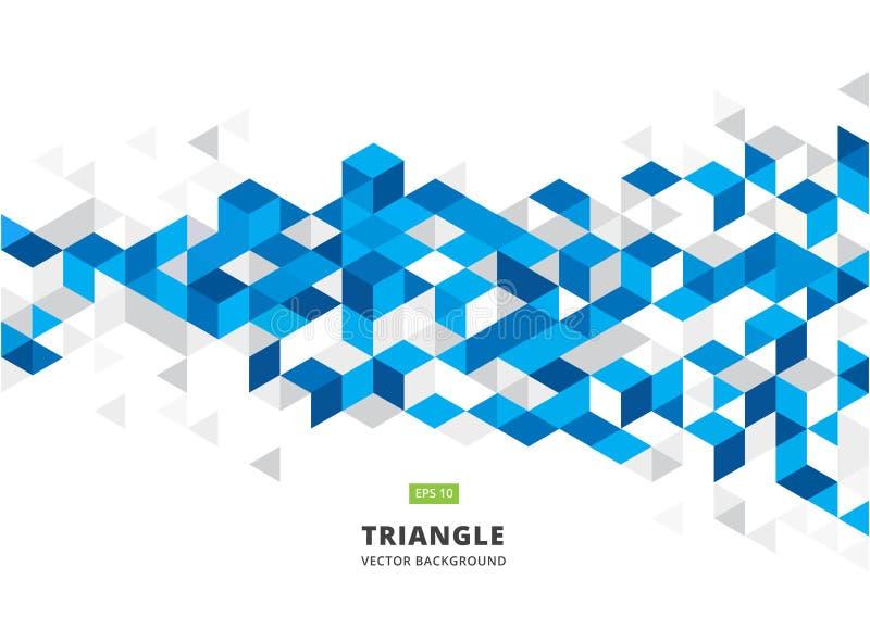 Abstrakcjonistyczny błękitny geometryczny tło z poligonalnymi trójbokami, lisiątko royalty ilustracja