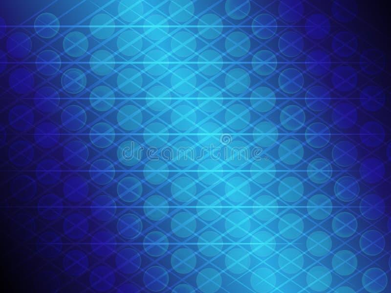 Abstrakcjonistyczny błękitny gradientowy okrąg i kreskowy rozjarzony tło royalty ilustracja