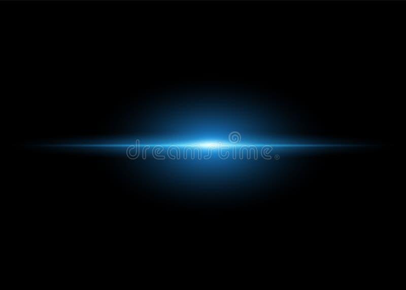 Abstrakcjonistyczny błękitny horyzontalny jaskrawy promień na zmroku odizolowywał tło Wektoru światła błysku skutek Pojęcie wschó ilustracja wektor