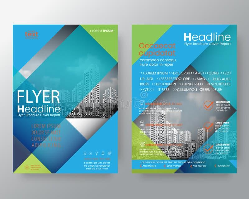Abstrakcjonistyczny błękitny i zielony przekątny linii broszurki sprawozdania rocznego cov ilustracja wektor