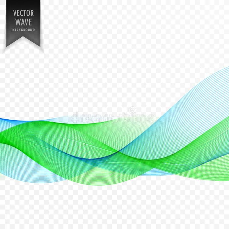 Abstrakcjonistyczny błękitny i zielony wektor fala tło ilustracja wektor
