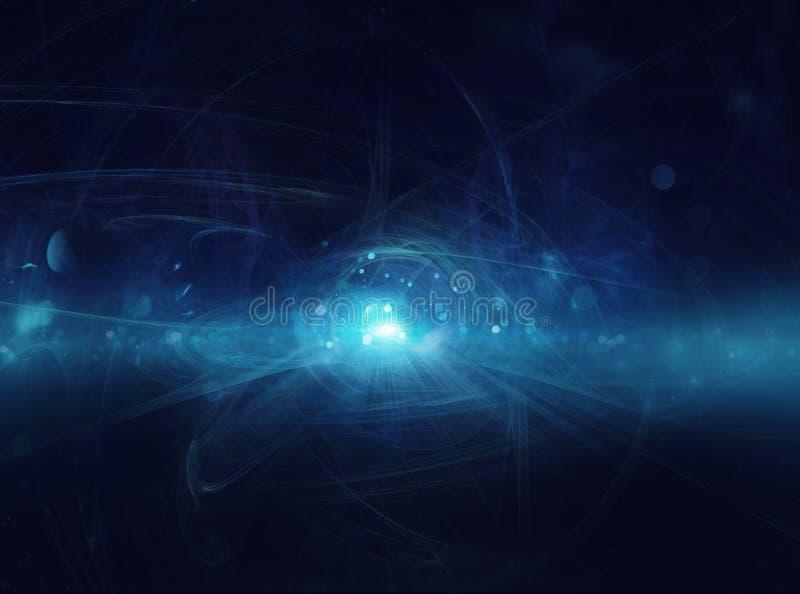 Abstrakcjonistyczny błękitny interneta tło z światłowodu światłem ilustracji