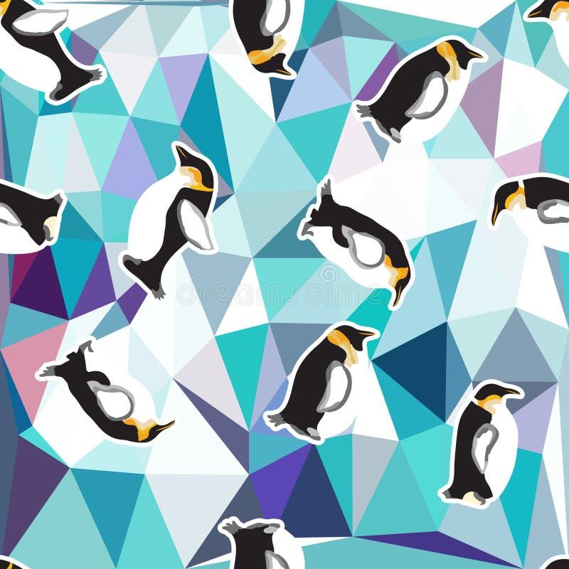 Abstrakcjonistyczny błękitny kryształu lodu tło z pingwinem bezszwowy wzór, use jako nawierzchniowa tekstura royalty ilustracja