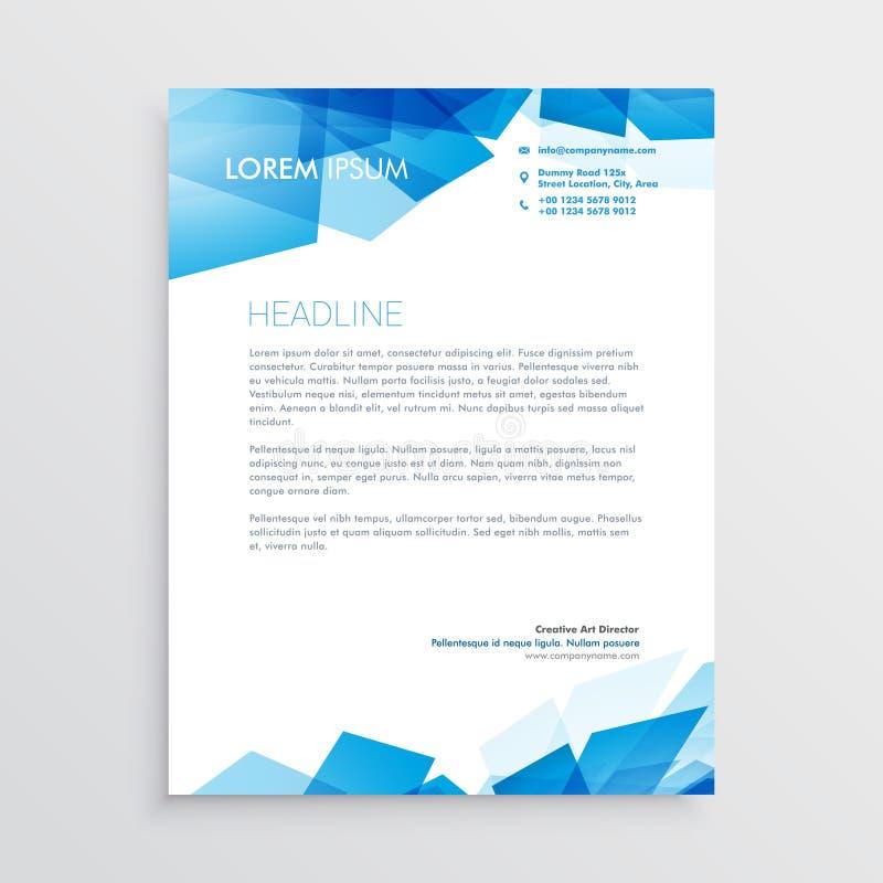 Abstrakcjonistyczny błękitny letterhead projekta szablon ilustracji