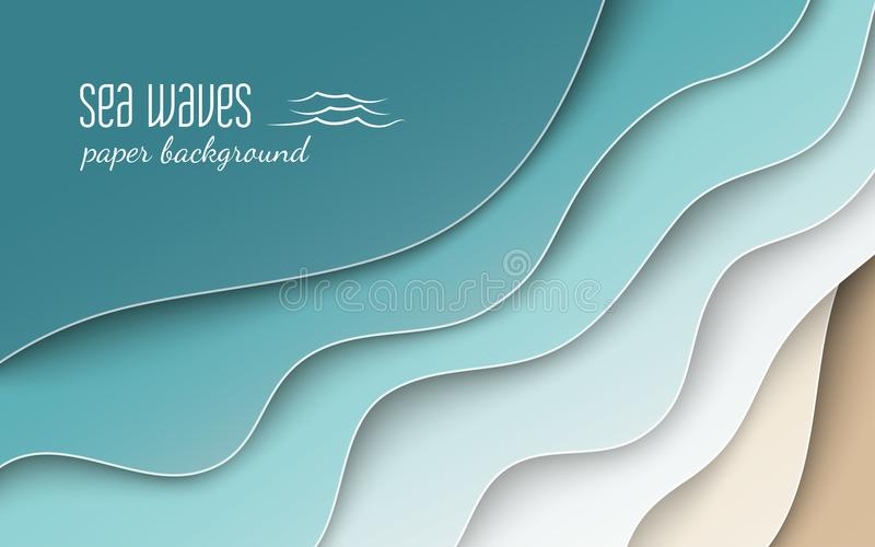 Abstrakcjonistyczny błękitny morza, plaży lata tło z i, plakat royalty ilustracja