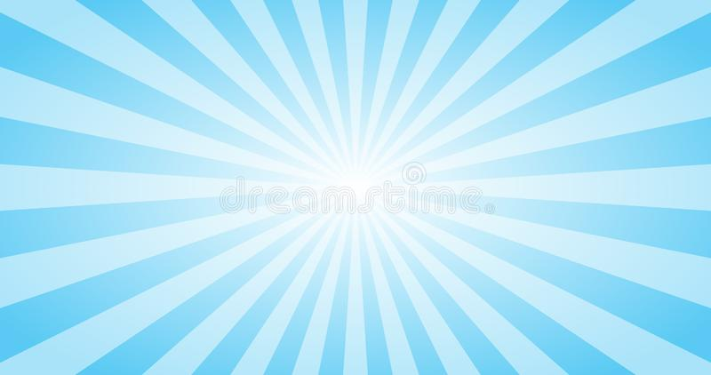 Abstrakcjonistyczny Błękitny słońce promieni wektoru tło Lato pogodny 4K projekt royalty ilustracja