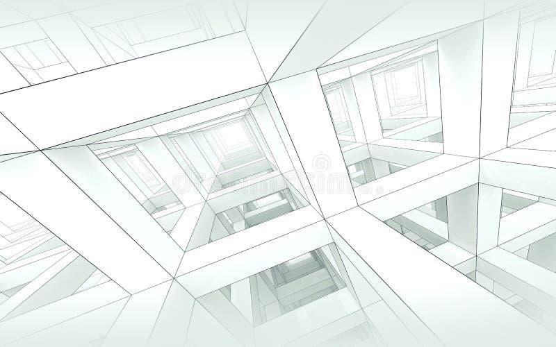 Abstrakcjonistyczny błękitny stonowany architektury tło 3d ilustracja wektor