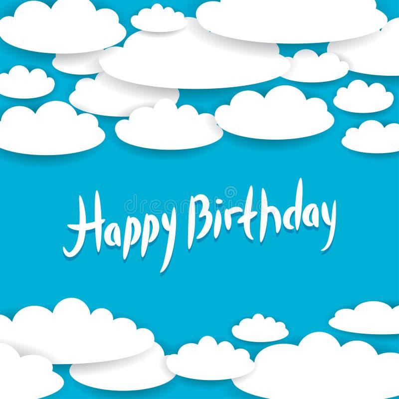 Abstrakcjonistyczny błękitny tło, niebo, biel chmurnieje szczęśliwa kartkę na urodziny ilustracja wektor