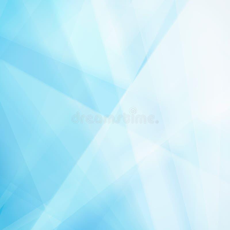 Abstrakcjonistyczny błękitny tło z białą trójbok plamą i kształtami ilustracja wektor