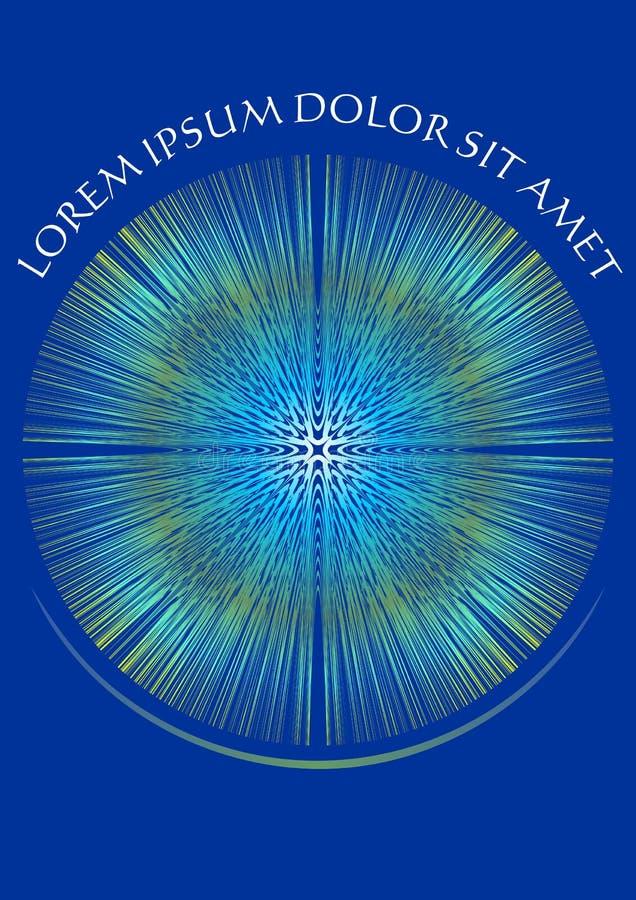 Abstrakcjonistyczny błękitny tło z białym ornamentem na świetnych promieniach ilustracji