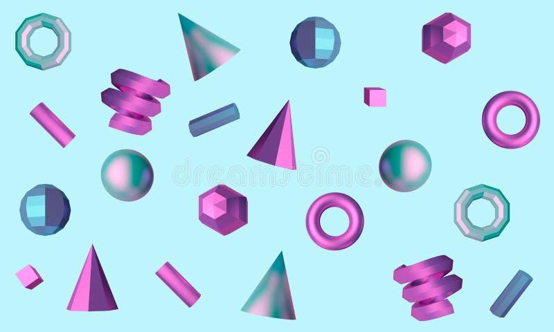 Abstrakcjonistyczny błękitny tło z sześcianem, sfera, ruruje i konusuje ?wiadczenia 3 d royalty ilustracja