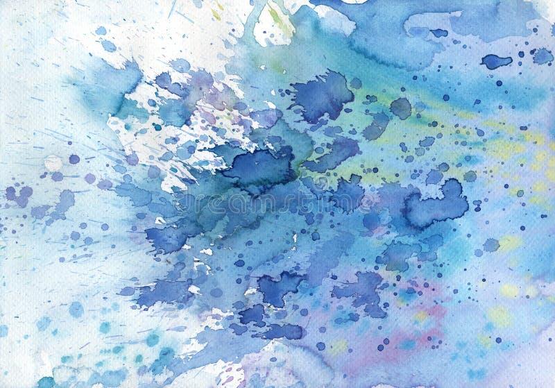 Abstrakcjonistyczny błękitny tekstury akwareli tło, ilustracja wektor
