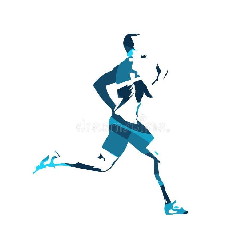 Abstrakcjonistyczny błękitny wektorowy biegacz Działający Mężczyzna royalty ilustracja