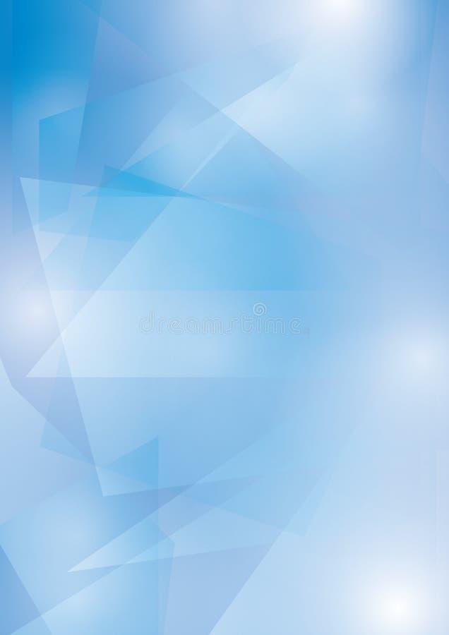 Abstrakcjonistyczny błękitny wektorowy tło z przejrzystym geometrycznym kształtów A4 formatem ilustracja wektor