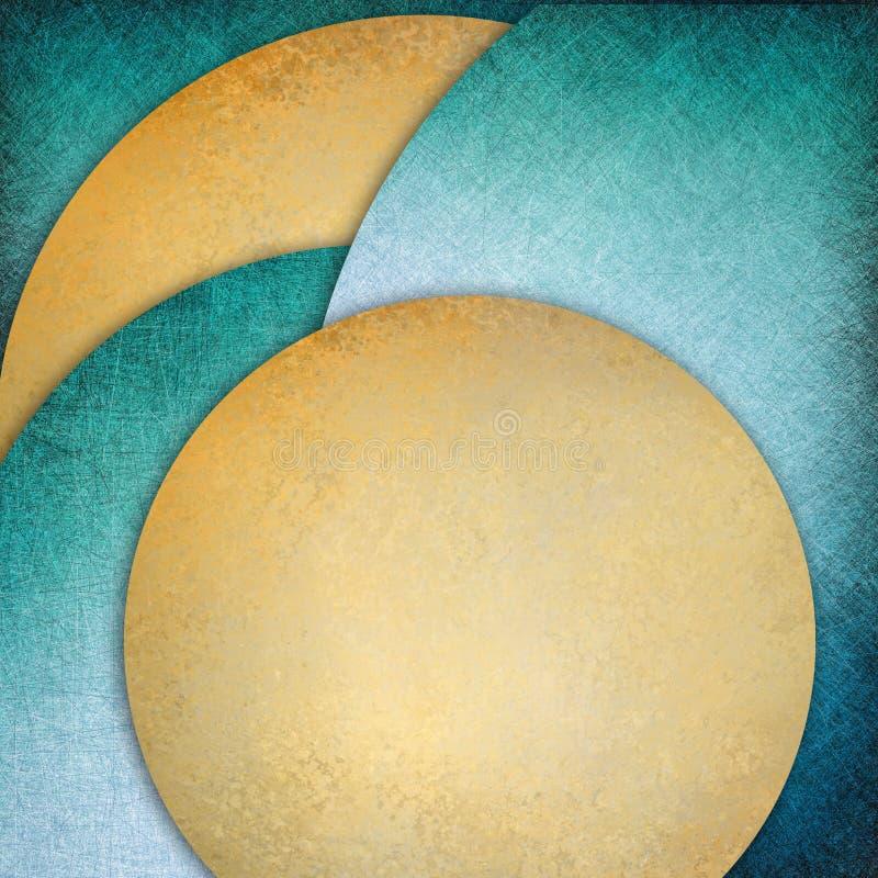 Abstrakcjonistyczny błękitny złocisty tło warstwy okręgi kształtuje w eleganckim projekta elemencie royalty ilustracja