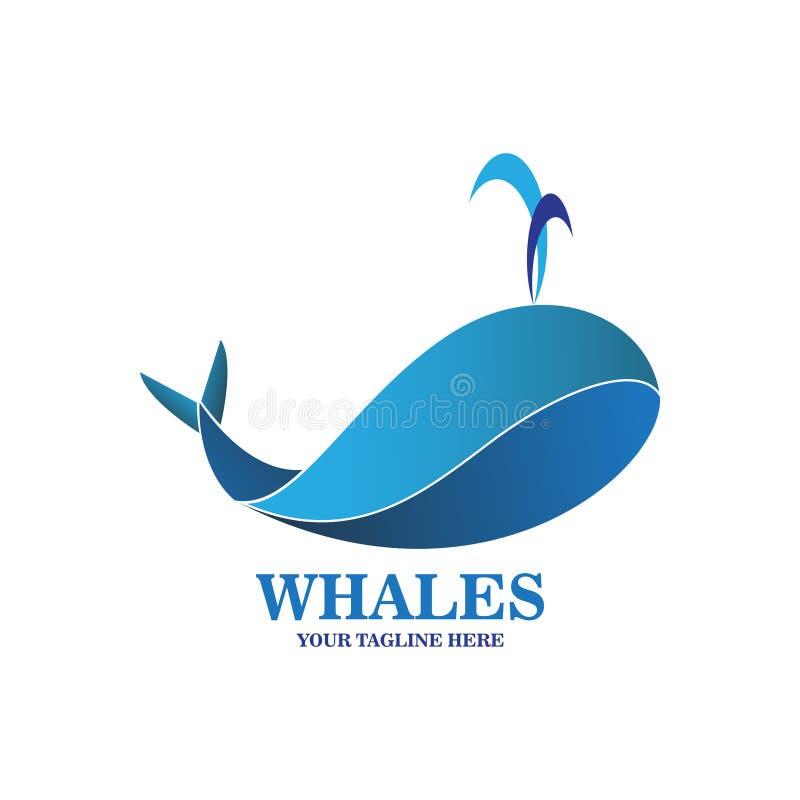 Abstrakcjonistyczny błękitnych wielorybów logo ilustracji