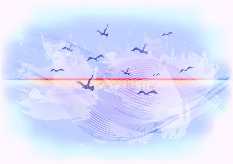 Abstrakcjonistyczny bławy nieba tło z ptakami lata w chmurach EPS10 wektorowa ilustracja ilustracji