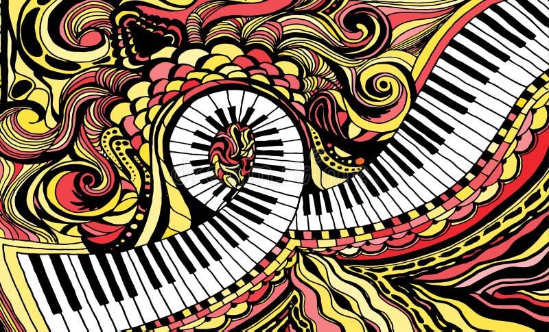Abstrakcjonistyczny barwiony tła składać się z fortepianowy kluczowy faborek royalty ilustracja