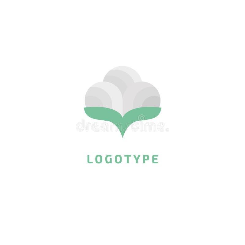 Abstrakcjonistyczny bawełny i wełny logo odzieżowej ikony wektorowy projekt Eco życzliwa tkanina, naturalny płótno, roślina, natu ilustracja wektor