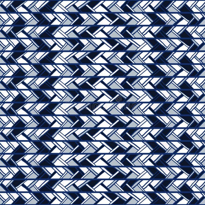 Abstrakcjonistyczny bezszwowy błękita wzór pionowo lampasy doodles royalty ilustracja