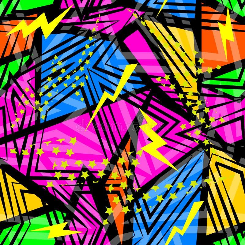 Abstrakcjonistyczny bezszwowy chaotyczny wzór z miastowymi geometrycznymi elementów trójbokami Grunge tekstury neonowy tło royalty ilustracja