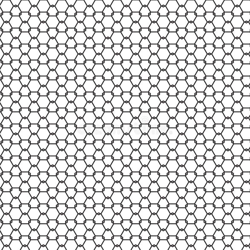 Abstrakcjonistyczny Bezszwowy Czarny & Biały Geometryczny ornamentu wzór Płotowa Graficznego projekta tła wektoru ilustracja ilustracja wektor