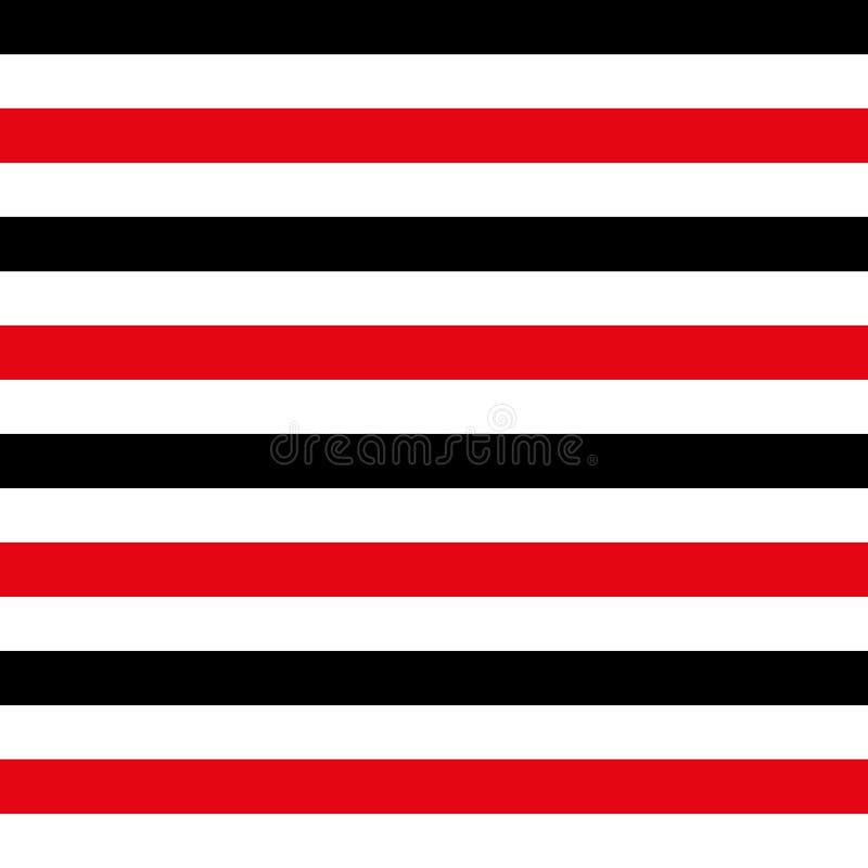 Abstrakcjonistyczny bezszwowy geometryczny horyzontalny pasiasty wzór z czerwienią, czarny i biały lampasy również zwrócić corel  ilustracja wektor
