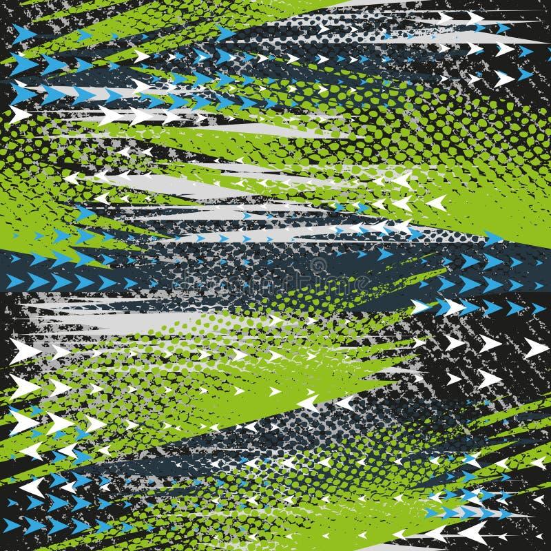 Abstrakcjonistyczny bezszwowy geometryczny wzór z geometrycznymi kształtami, kropki, kolorowy kiści farby atrament Grunge miastow royalty ilustracja