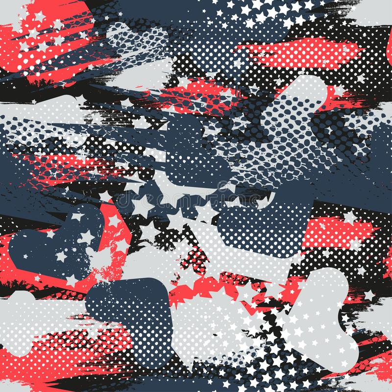 Abstrakcjonistyczny bezszwowy geometryczny wzór z geometrycznymi kształtami, kropki, kolorowy kiści farby atrament Grunge miastow ilustracji