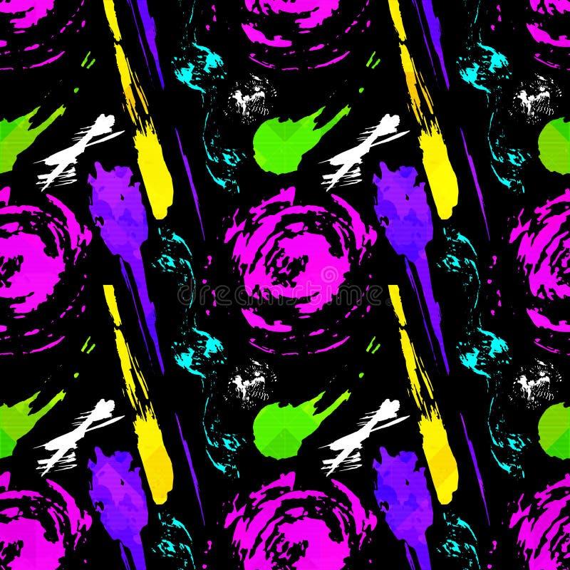Abstrakcjonistyczny bezszwowy geometryczny wzór z miasto elementami strzępiącymi się rozpyla trójbok neonowa farba barwiącą wysok royalty ilustracja