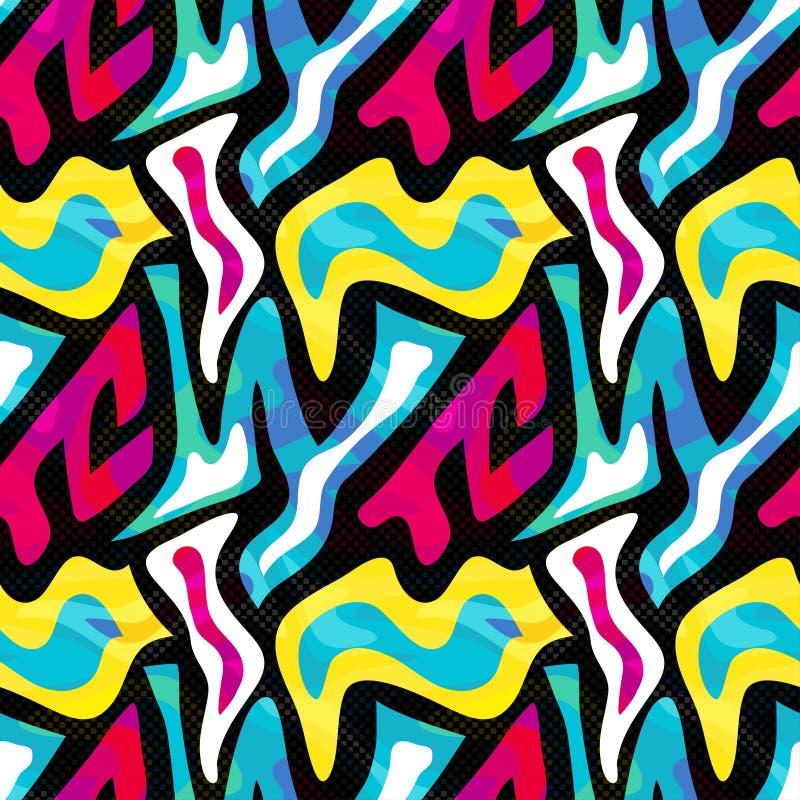Abstrakcjonistyczny bezszwowy geometryczny wzór z miastowymi elementami, scuffed, opuszcza, rozpyla, trójboki, neonowa kiści farb royalty ilustracja