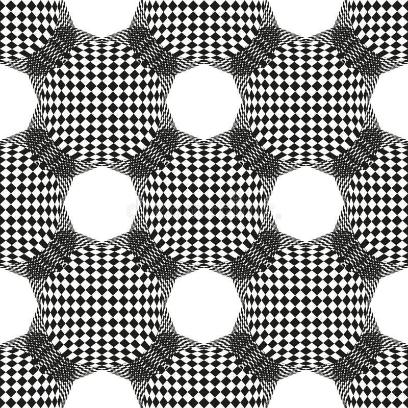 Abstrakcjonistyczny bezszwowy geometryczny wzór z szachy sześciokąta i pola wzorem Wektorowy monochromatyczny t?o royalty ilustracja
