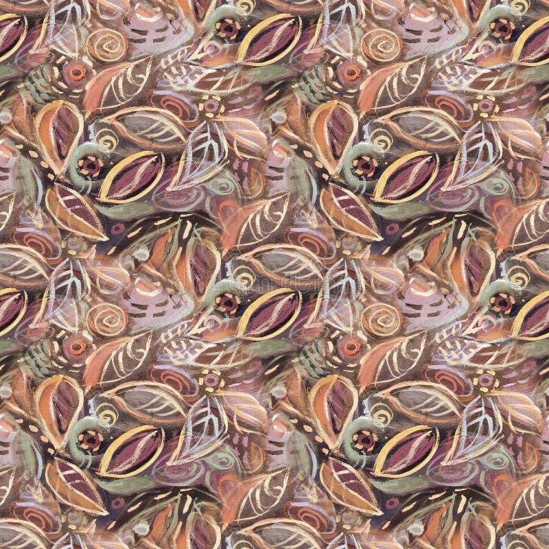 Abstrakcjonistyczny bezszwowy koloru tło z liśćmi, akrylowy obraz ilustracja wektor