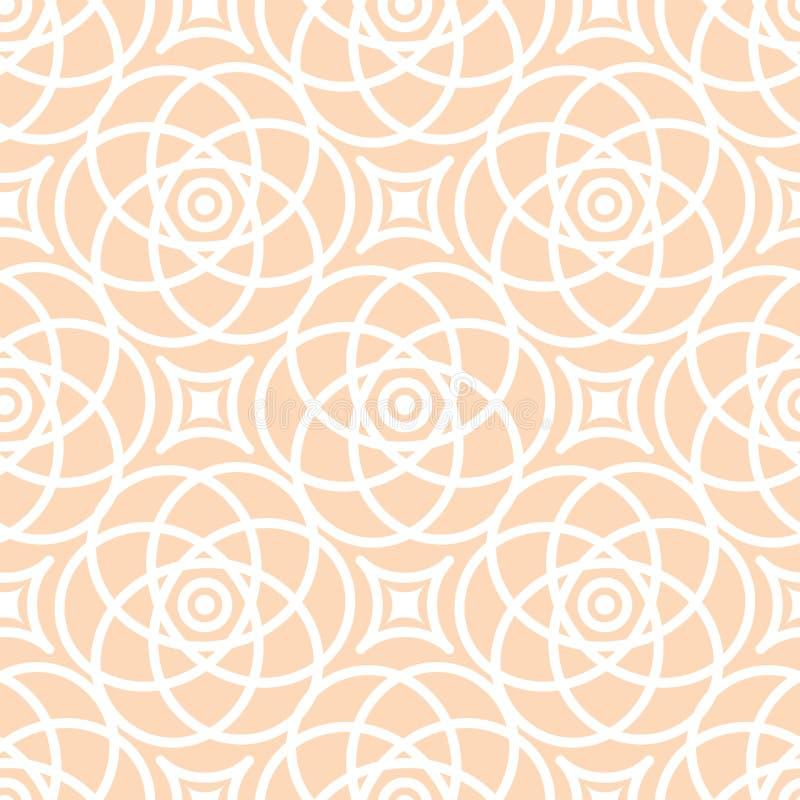 Abstrakcjonistyczny bezszwowy koronka wzór Duotone bielu i beżu graficzny ornament Geometryczny arabeskowy kwiecisty ornament royalty ilustracja