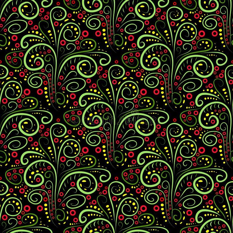 Abstrakcjonistyczny bezszwowy kwiecisty kędzioru wzór. Wektor royalty ilustracja