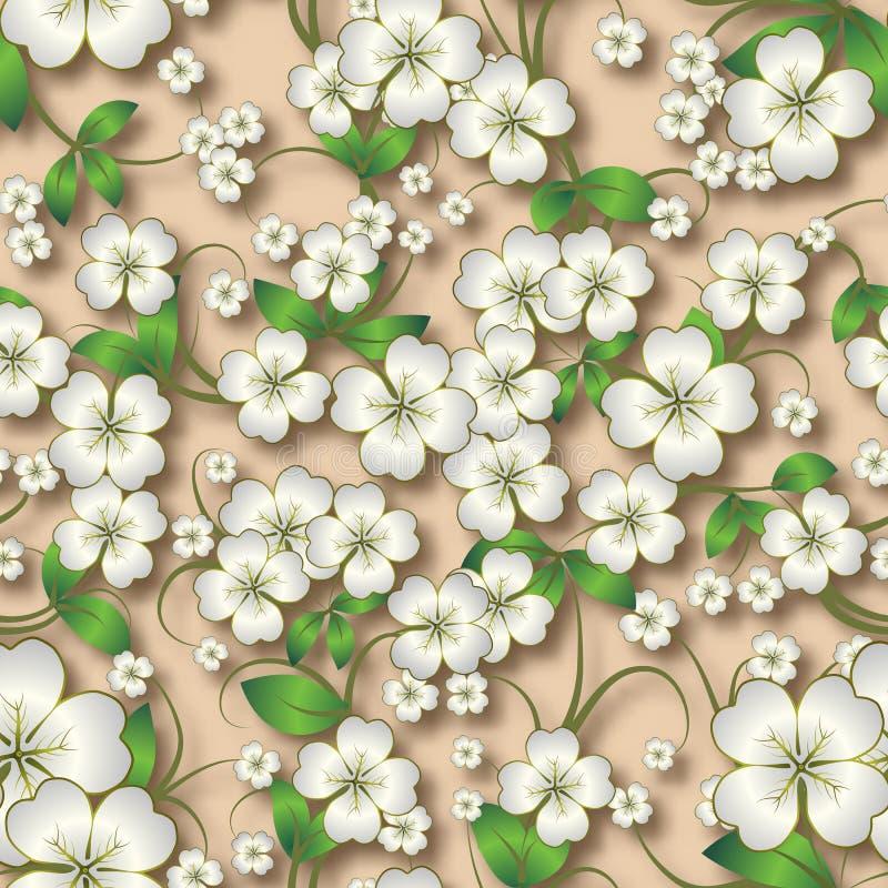Abstrakcjonistyczny bezszwowy kwiecisty tło z wiosna ornamentem na beig royalty ilustracja