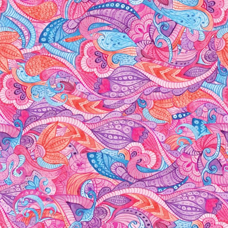 Abstrakcjonistyczny bezszwowy kwiecisty wzór z kolorowa ręka malującym akwareli fantazi ornamentem ilustracji