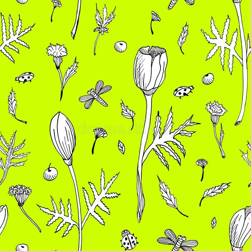 Abstrakcjonistyczny bezszwowy kwiecisty wzór z tulipanami, liśćmi i ziele, Ręka rysujący czarny i biały kwiaty na zielonym tle ilustracji