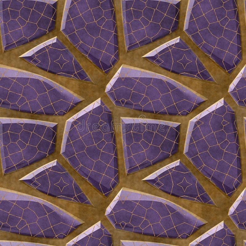 Abstrakcjonistyczny bezszwowy reliefowy podłoga wzór fiołkowi poligonalni ostrze kamienie z siatką royalty ilustracja
