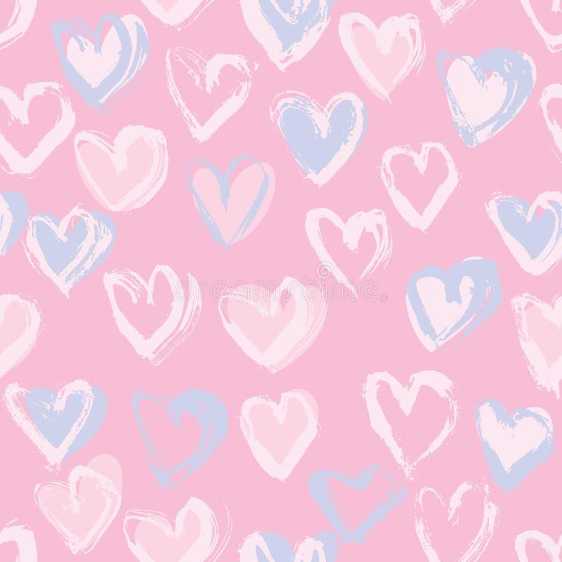 Abstrakcjonistyczny bezszwowy serce wzór Atrament ilustracja różowy tła romantyczne ilustracja wektor