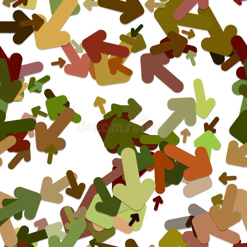 Abstrakcjonistyczny bezszwowy strzałkowaty tło wzór - wektorowa ilustracja od wirować zaokrąglonych strzała z cienia skutkiem ilustracji