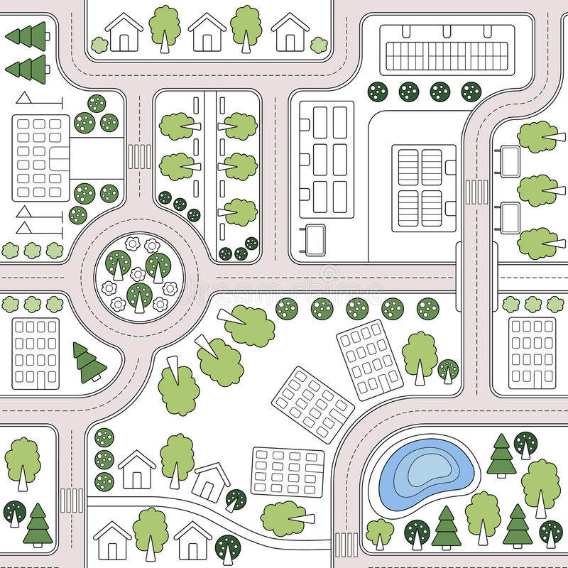 Abstrakcjonistyczny bezszwowy wektorowy tło, wzór, tapeta, tło z domami, drogi, drzewa Urbanistic krajobrazowy plan ilustracji
