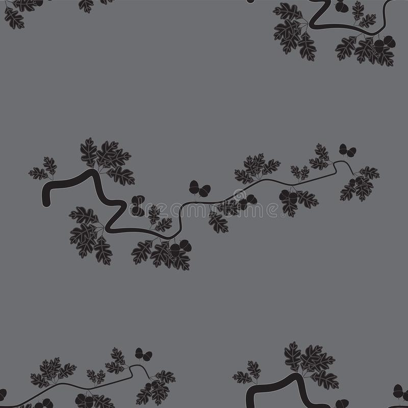 Abstrakcjonistyczny bezszwowy wektorowy tło z dębów acorns i liśćmi ilustracji