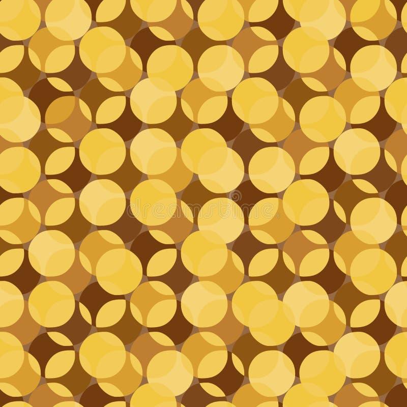 Abstrakcjonistyczny bezszwowy wektoru wzór z złocistą monetą kształtuje ilustracja wektor