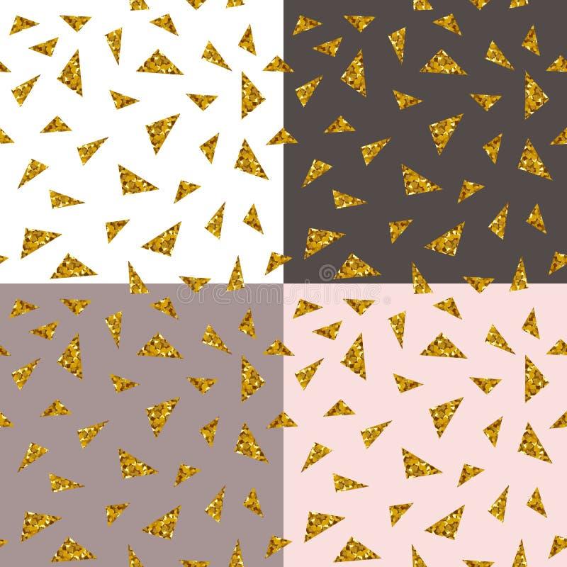 Abstrakcjonistyczny bezszwowy wielostrzałowy wzór z złocistymi błyskotliwość trójbokami na różnych tło ilustracja wektor