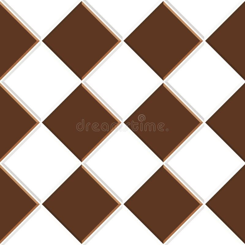 Abstrakcjonistyczny bezszwowy wzór brąz białe ceramiczne podłogowe płytki Projektuje geometryczną mozaiki teksturę dla dekoracji  ilustracja wektor
